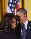 President Barack Obama shared a sweet moment with Oprah Winfrey, one of 16 people to whom he gave a Presidential Medal of Freedom during a ceremony at the White House.