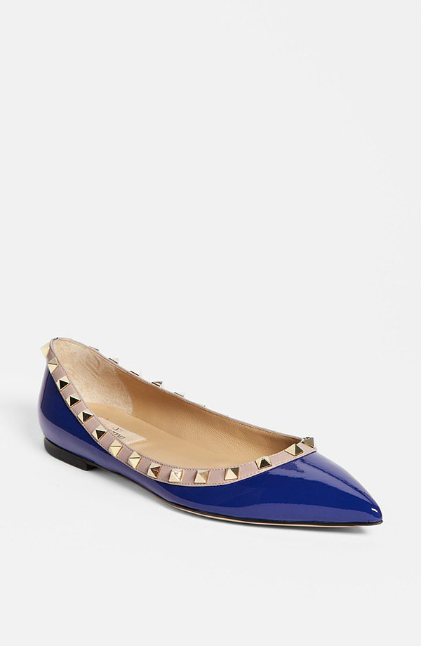 The ladylike spikes on Valentino's rockstud flats ($695) are an oxymoron that works brilliantly.
