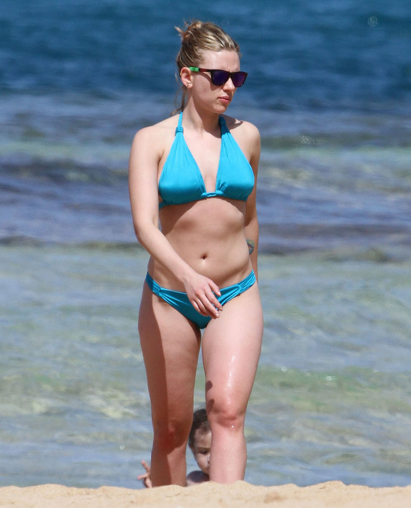 Scarlett Johansson broke out her bikini and hit the beach in Hawaii in February 2012.