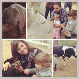 Harper Smith visited a petting farm and spent some time with the animals. Source: Instagram user tathiessen