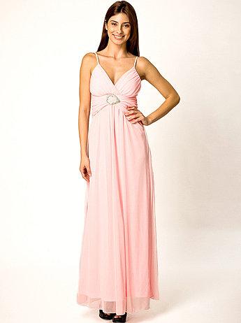 Pink/Turquoise Diamente Buckle Evening Maxi Dress | Women Clothes
