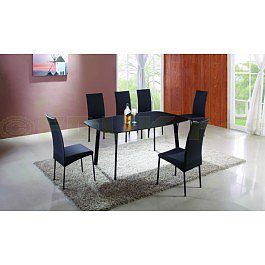 Exclusive Furniture Toledo Black Dining Set with 4 Chair