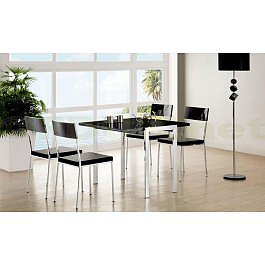 Exclusive Furniture Bistro Black Glass Extending Dining Table with 4 Chairs