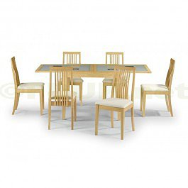 Julian Bowen Alaska Real Veneer / Maple Finish Fixed Glass Extending Dining Table with 4 Chairs
