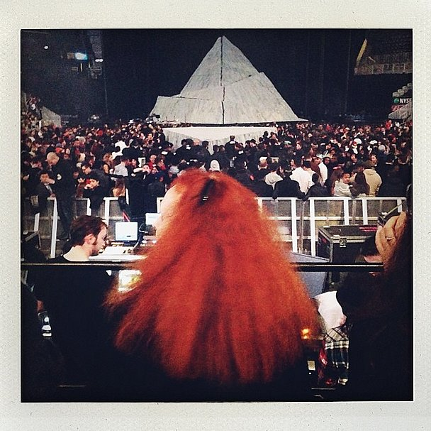 Laura Brown officially had the best view of Kanye's stage. Source: Instagram user laurabrown99