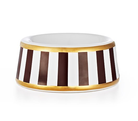 Fine dining for dogs! With the Henri Bendel striped small dog bowl ($30), kibble never tasted so good.