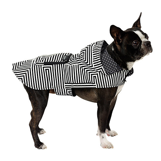 Don't let your dog be caught in the rain in last season's boring yellow parka. Instead, make a statement with the hooded zig-zag Kate Spade Saturday parka ($45). Plus, a zippered back pocket can hold all of your pooch's essentials, like tasty treats and other unmentionables (read: poop bags).