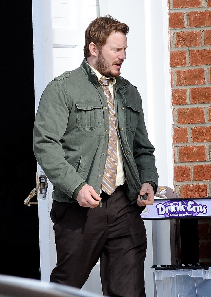 Chris Pratt was seen filming scenes for Parks and Recreation in LA on Wednesday.