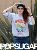 Kristen Stewart wore flip-up sunglasses.