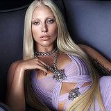 Lady Gaga Purple Dress Versace Ad; Donatella Versace