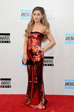 Ariana Grande chose a strapless red gown.
