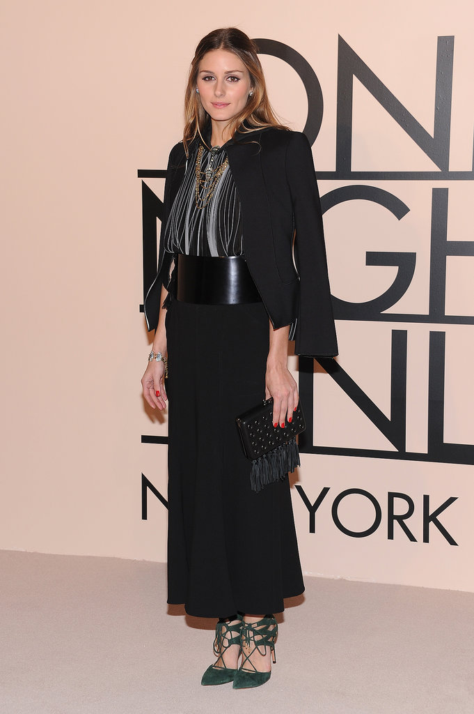 Olivia managed to look elegant and eclectic in a long skirt and strappy heels at a Giorgio Armani event.