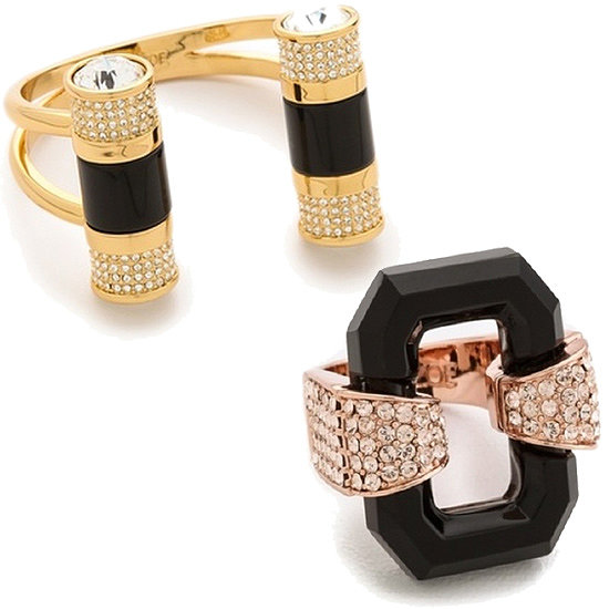 "Rachel Zoe Barrel Cuff Bracelet ($295) and Rachel Zoe Lucite Ring ($125) ""I think costume jewelry is timeless — whether it's a statement cuff or cocktail ring. It takes any look from day to night by adding a little sparkle! Jewelry is always my favorite gift to give."""