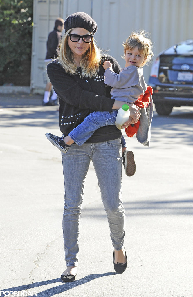 Selma Blair headed to an LA farmers market with Arthur on Sunday.