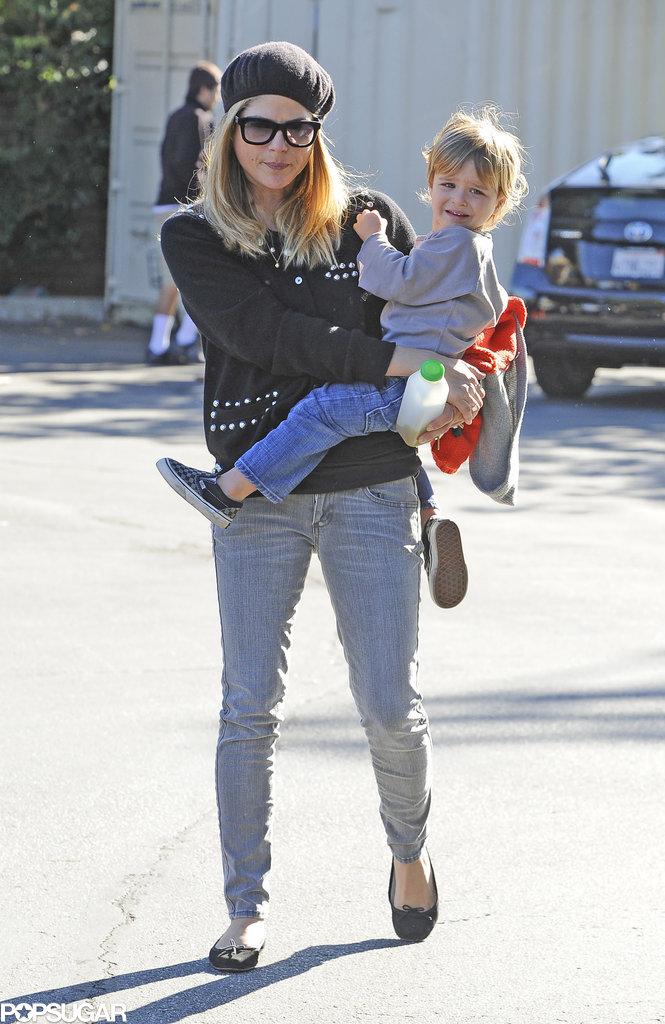 Selma Blair headed to an LA farmers market with Arthur on Sunday.