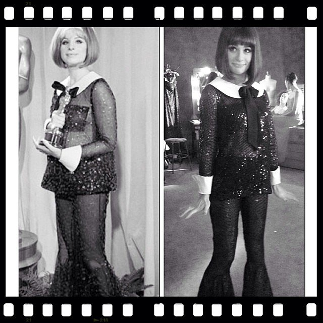 Lea Michele was a dead ringer for Barbra Streisand on the set of Glee. Source: Instagram user msleamichele