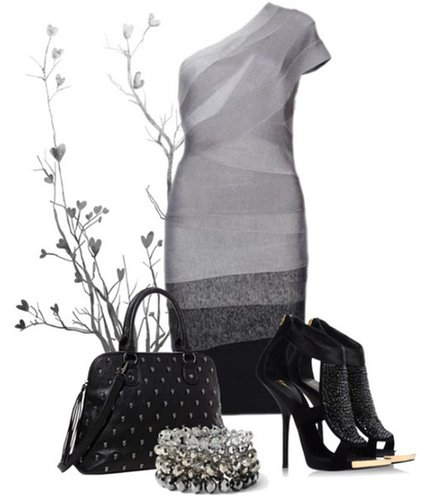 Classy Grey Ombre off shoulder bandage dress