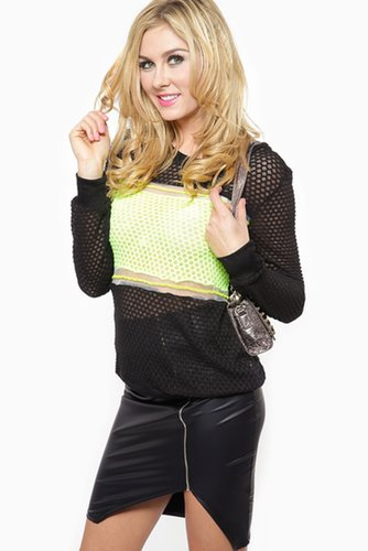 Hint of Neon Pull Over Sweater @ Cicihot Clothing,sexy club wear,women's party wear,sexy clothes,evening dress,v neck sweater dr