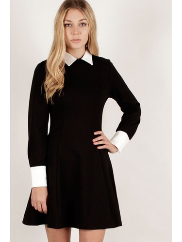 Black & White Structured Long Sleeve Collar Cuff Dress - from Lavish Alice UK