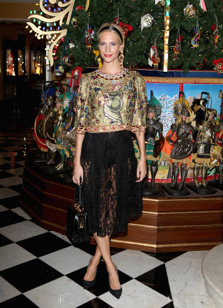 Poppy Delevingne at Claridge's party for its Dolce & Gabbana Christmas Tree in London.