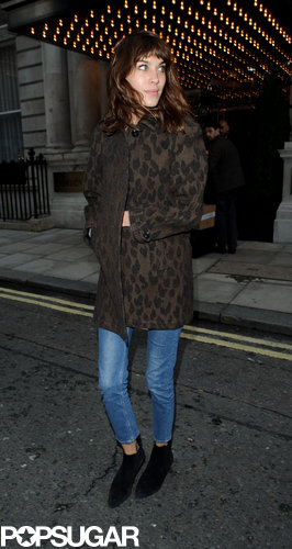 A would-be-simple outfit got the chic Alexa Chung touch thanks to a leopard-print topper.