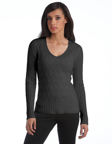 LORD & TAYLOR Cashmere Pointelle & Ribbed Sweater