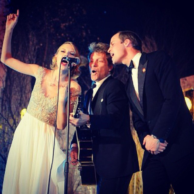 Prince William gets a little help from his backup vocalists Taylor Swift and Jon Bon Jovi. Source: Instagram user taylorswift