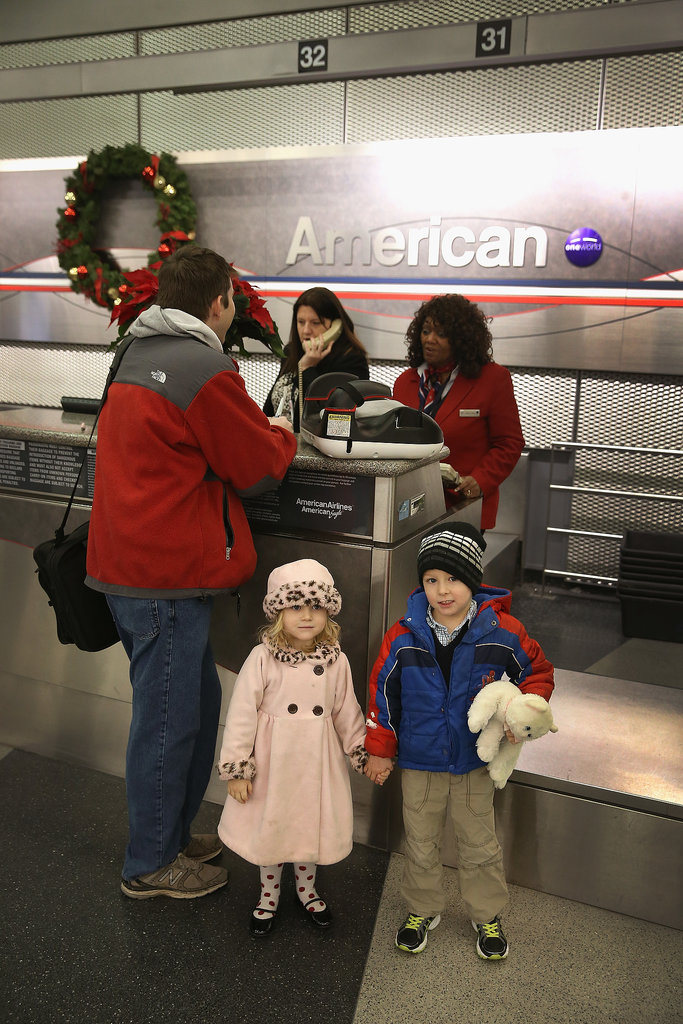The Winter storm threatened to disrupt little Rosalie and Vincent McCormick's travel plans.