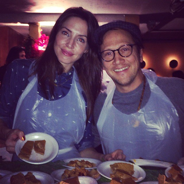 Whitney Cummings and Rob Schneider served food at a Thanksgiving feast. Source: Instagram user whitneycummings