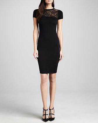 RED Valentino Lace-Yoke Short-Sleeve Sheath Dress, Black