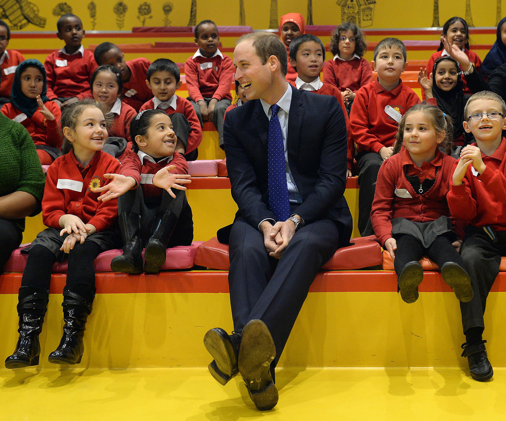 Prince William joined the little ones for story time at the Birmingham Library.