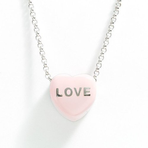 """Sweethearts sterling silver """"love"""" pink heart pendant"""