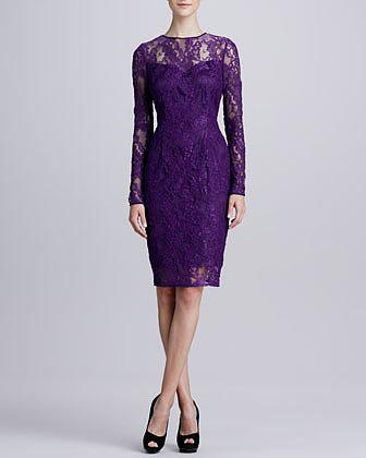 Carmen Marc Valvo Long-Sleeve Lace Cocktail Dress