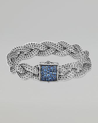 John Hardy Classic Chain Medium Braided Silver Bracelet, Blue Sapphire