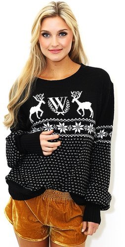 Wildfox White Label WILDFOX White Label Pastel Snow Babe Holiday Sweater in Clean Black