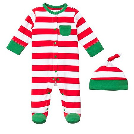 Offspring Holiday Stripe Footie and Hat