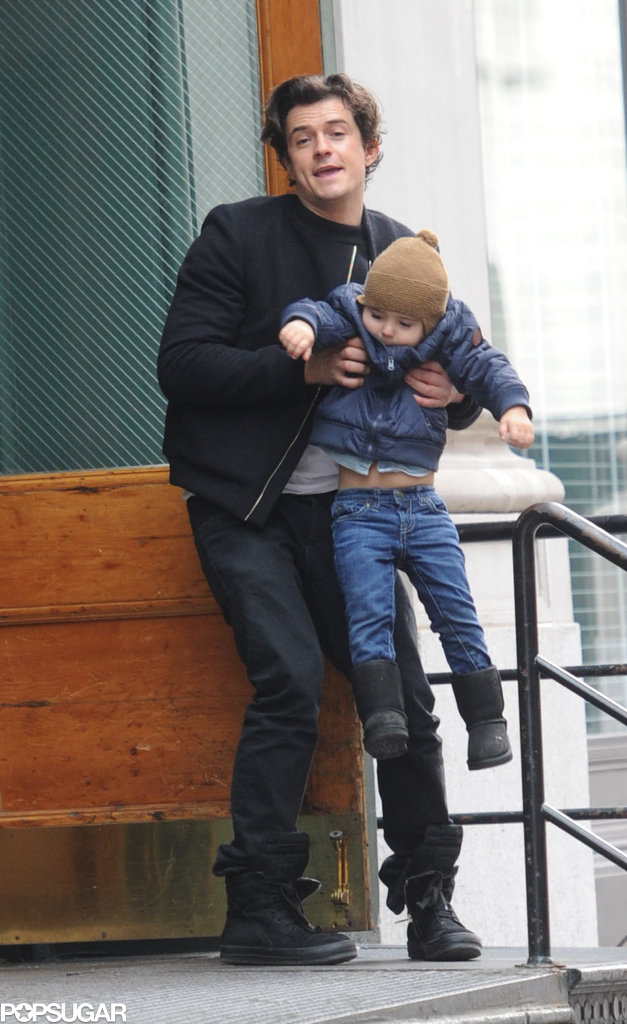 Orlando Bloom picked up his son, Flynn, while the two were out in NYC on Sunday.
