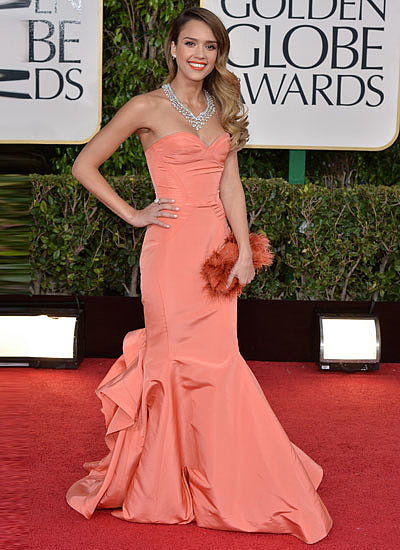 8. Jessica Alba in Oscar de la Renta at the Golden Globe Awards
