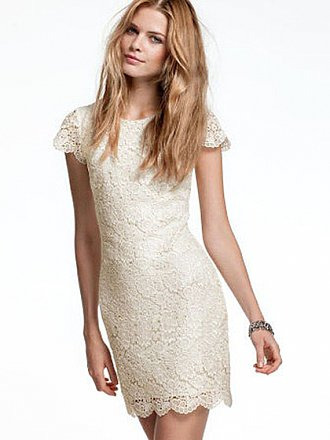 Sheath/Column Scoop Lace Short/Mini Draped Cocktail Dresses