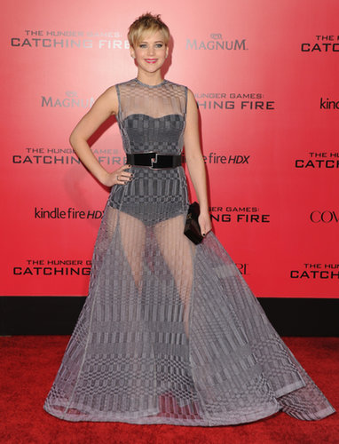 Jennifer Lawrence in Sheer Dior Haute Couture Dress