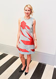 Naomi Watts in Red and Gray Dior Dress