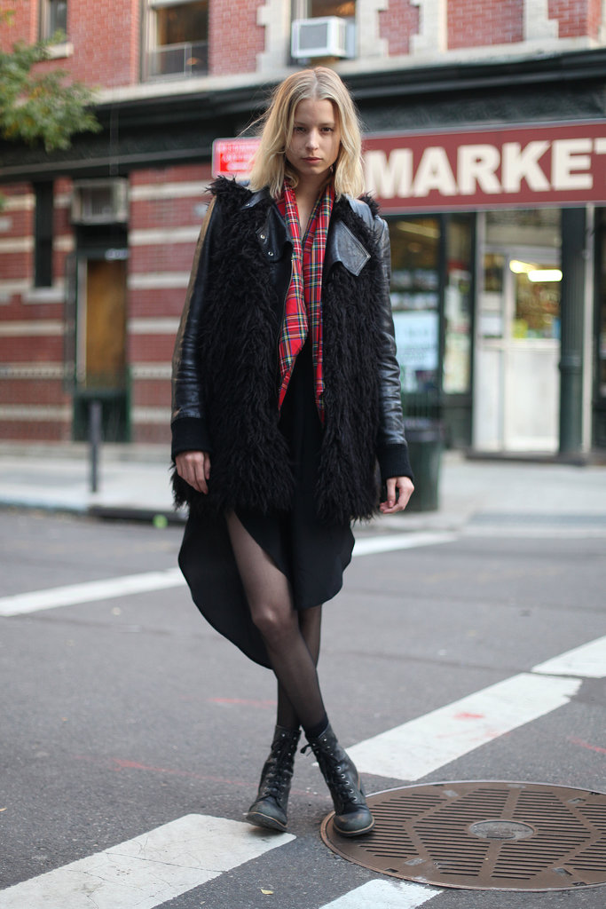 Take the grunge-inspired approach and add a little plaid and sheer black tights to the mix. Source: Le 21ème | Adam Katz Sinding