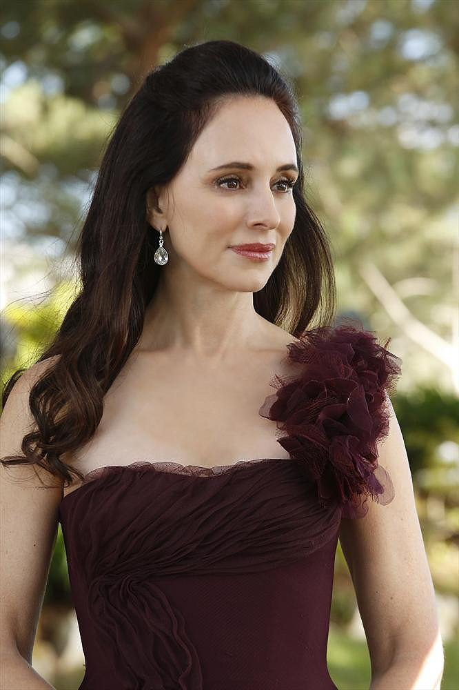 Victoria (Madeleine Stowe) watches on.
