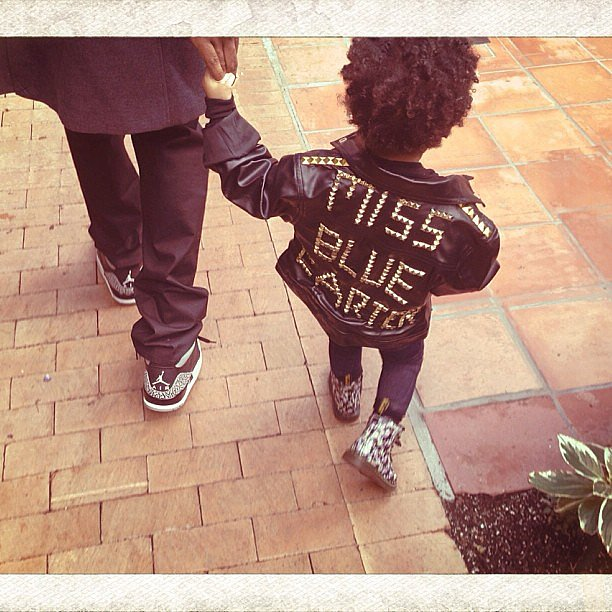 Blue Ivy Carter rocked a leather jacket and Dr. Martens. Source: Instagram user beyonce