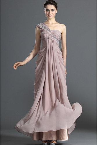 Prom Dresses Sheath Floor Length One Shoulder Chiffon