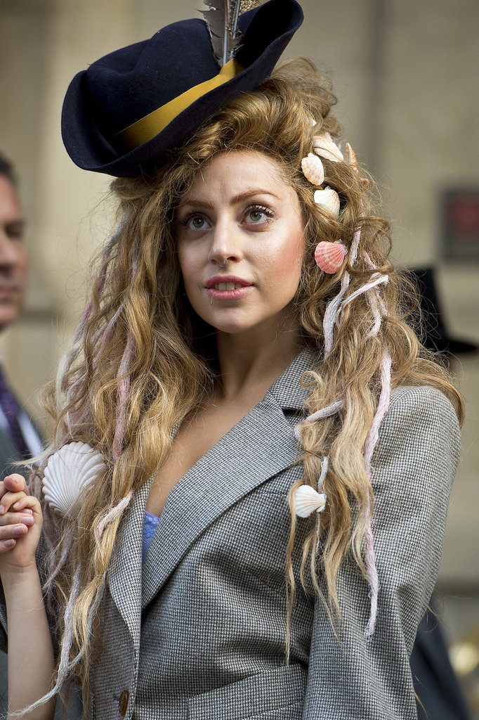Lady Gaga stuck with the nautical theme, adding a pirate's hat and seashells to this wig. We consider her Ariel fantasy fulfilled.