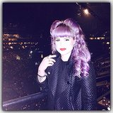 Looking like a purple pin-up girl,  Kelly Osbourne went with a retro rolled hairstyle. Source: Instagram user kellyosborne
