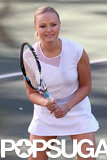 Malin Akerman hit the tennis court on the set of Trophy Wife in LA on Thursday.