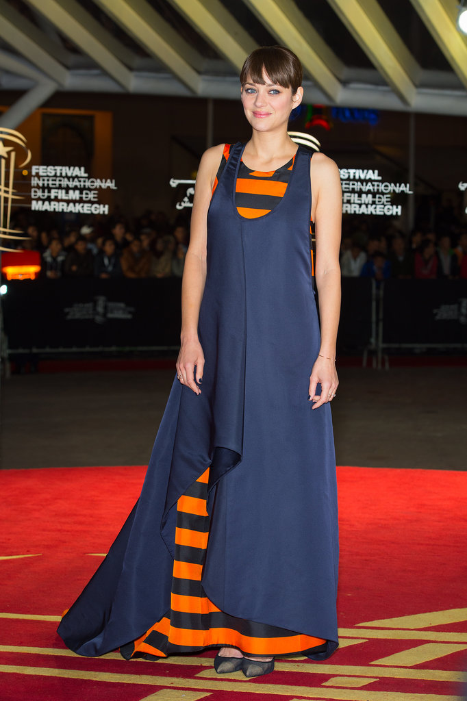 Marion Cotillard in Striped Dior Haute Couture Dress