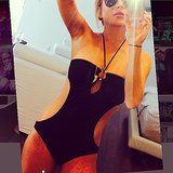 Lindsay Lohan posed in her swimsuit. Source: Instagram user lindsaylohan